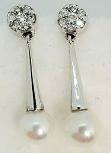 Amazing 14k White Gold 14 Diamond cluster Top 6.8mm Pearl Drop Dangle Earrings
