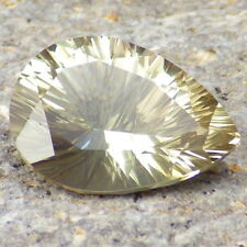 PASTEL GREEN-GOLD OREGON SUNSTONE 4.91Ct FLAWLESS-PERFECT CONCAVE CUT-FOR JEWELR