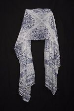white & Dark Blue Floral Motives Pattern Print Sheer Scarf For Casual Wear S175A