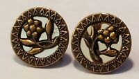 """1"""" -Vintage FLORAL / FLOWER GOLD TONE SCREW-BACK Earrings-80's / 90's Style"""