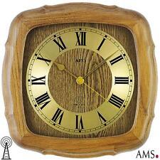 AMS 38 Horloge murale radio-pilotée chêne massif rustique de cuisine bureau 987