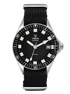 YEMA Superman Black Quartz Date Perlon Strap Watch YMHF1551-ASP01 (BRAND NEW)
