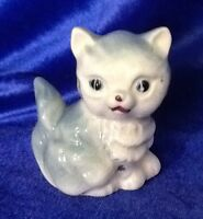 Vintage Gray White Ceramic Porcelain Sitting Kitty Cat Figurine Made In Japan