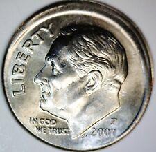 2007 RARE DATE OFF CENTER ERROR Roosevelt Dime BU + O/C + Broadstrck Coin #1  NR