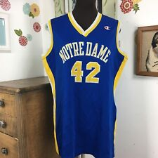 Vtg Lady Champion Jersey Tee Notre Dame Blue Gold 42 Sleeveless Tank Top Shirt