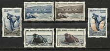 FRENCH ANTARCTIC 1956, MARINE FAUNA, MAMMALS, BIRDS: PENGUINS Scott 2-7, MNH