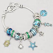 Starfish Bracelet Charm Sliding Beads Tutle Sea Horse Sand Dollar SILVER BLUE