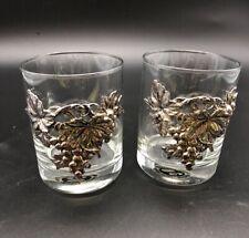 2 Vintage Arthur Court Grape Pattern Old Fashion Glasses item #12-764