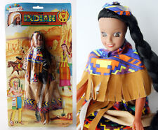 "RARE VINTAGE 90'S INDIAN DOLL 11.5"" SOFT RUBBER HEAD LONG HAIR + DRESS NEW !"