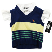 NWT Only Kids Multi-Color Short Sleeve Polo Style Shirt & Sweater vest Size 12M