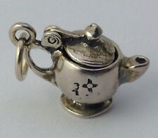 Solid Sterling Silver Teapot Charm Pendant, Opening Lid, New