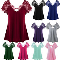 Women's Casual V-Neck Lace Trim T-Shirt Loose Short Sleeve Plus Size Tops Blouse