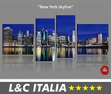 New York Skyline - 4 QUADRI MODERNI XXL ARREDO DESIGN STAMPE BILDER CITY POSTER