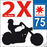 2 stickers autocollants style plaque immatriculation moto Département  75