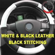 CAR STEERING WHEEL COVER SIZE 37-39cm WHITE & BLACK LEATHER