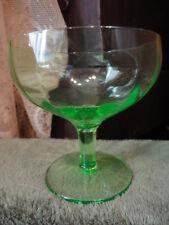 """Federal Glass Green Depression Low Sherbet stem 3-1/2""""t Vintage"""