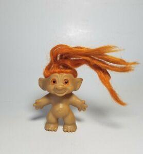 "Vintage 3"" Troll Doll with Orange Spiral Eyes Orange Hair Dam Era"