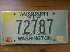 Mississippi License Plate Washington County with 1999 Sticker #72787