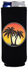 Palm Tree 12 oz. Slim Can Coolie, Choice of Color, Ultra, Beach, Sunset, Island