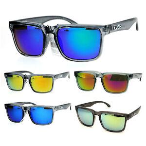 Kush Mens Color Mirrored Sport Horn Rim Slate Frame Agent Sunglasses