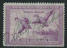 US Scott #RW5, Single 1938 Duck Stamp $1 FVF Used