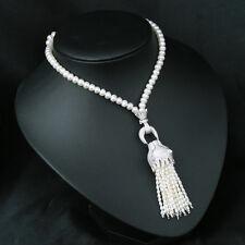 Collier Sautoir Perle de Culture Léopard Argent Sterling 925 Pendantif  TZ