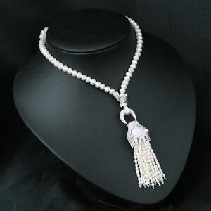 Collier Sautoir Perle de Culture Léopard Argent Sterling 925 Pendantif  TZ9