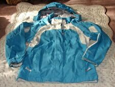 THE NORTH FACE GIRLS SIZE LARGE BLUE WHITE GRAY HYVENT HOODED WIND BREAKER