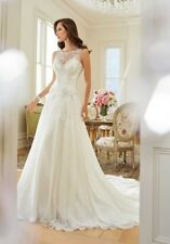 Sophia Tolli Linnet Beaded Chiffon Wedding Dress UK Size12 Ivory - Brand New