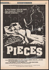 PIECES__Original 1982 Trade print AD / poster__LYNDA DAY GEORGE__chainsaw horror