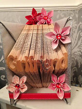 "hand made ""girlfriend "" book fold origami with flowers gems and ribbon"