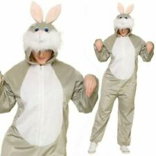 Deluxe Adult Unisex Easter Bunny Rabbit Costume Fancy Dress Jumpsuit Outfit OS