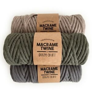 Macrame Cord 4mm Single Twine Cord %100 Recycled Soft Cotton Yarn Craft