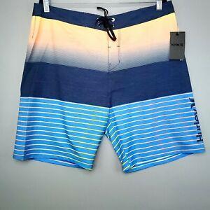 New Hurley Men's Phantom Backyards Stretch Shorts Boardshorts Striped Trunks