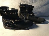 UGG Size 7 Womens Black Suede Biker Boots With Brass Studs And Buckle