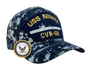USS Nimitz Hat CVN-68 Ball Cap Digital Blue w/FREE STICKER