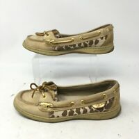 Sperry Top-Sider Angelfish Shimmer Leopard Boat Shoes Womens 8.5M Leather Tan
