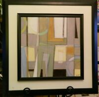 "Vintage Framed & Signed Abstract Painting by Norman Wyatt Jr 28"" x 28"" Excellent"