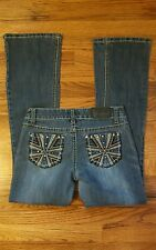 a726105d514 SOUNDGIRL Jeans Women s Blue Embellished Pockets Wash Boot Cut Juniors sz 7