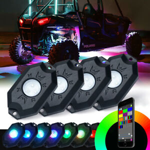 4 Pod RGB LED Rock Lights Kit Bluetooth for Jeep Truck Offroad ATV UTV Underglow