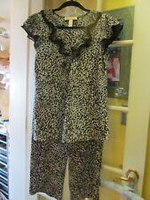 Vtg Oscar De La Renta Pink Label Silky Animal Cat Print Pajama Set Small Pants