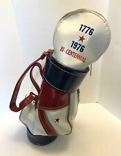 "VTG Bicentennial Mini Staff Golf Bag Den Caddy Trash BBQ Red White Blue 16"" USA"