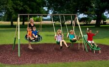 XDP Recreation Playground Metal Swing Set - Beige/Green/Brown Brand New