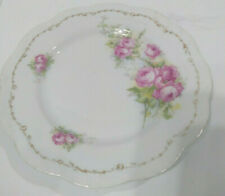 "Vintage 7.5"" Plate Pink Roses with Gold Trim #27"