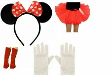New Minnie Mouse Kids Girls Fancy Dress Tutu Ears Gloves Legwarmers Set outfit