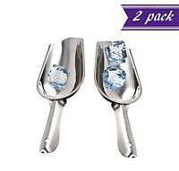 (Set of 2) 5-Ounce Stainless Steel Ice Scoop, Small Bar Scoop by Tezzorio