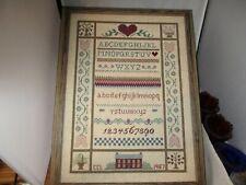 Handmade Cross Stitched Sampler on Linen Professionally Framed