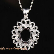 Oval 10×8mm Solid 14K White Gold Natural Diamond Semi Mount Pendant Setting Only