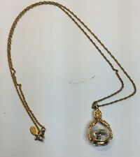 Joan River Chain Necklace With 3 Stone Twirling FOB (c65)