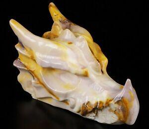 "NEW DESIGN 5.1"" MOOKAITE JASPER Carved Crystal Dragon HEAD Skull,  Healing"